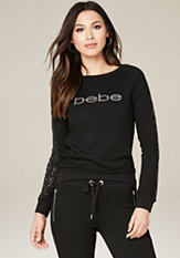bebe Logo Embellished Top