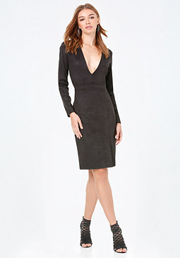 bebe Faux Suede Plunge Dress