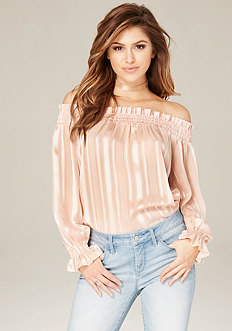 Sheer Striped Shoulder Top