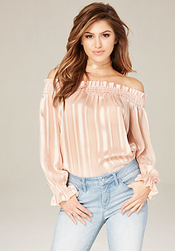 bebe Sheer Striped Shoulder Top