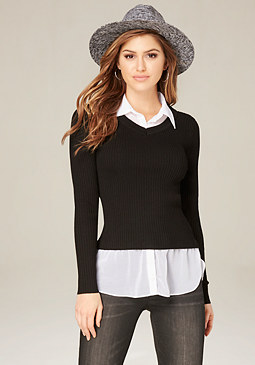 bebe Janie 2-Fer Sweater Top
