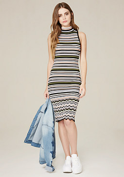 bebe Striped Mock Neck Dress