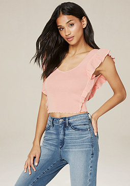 bebe Ruffle Pinafore Crop Top