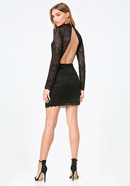 bebe Raquel Lace Open Back Dress