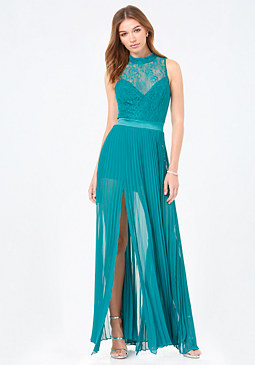 bebe Petite Lace Bodice Gown