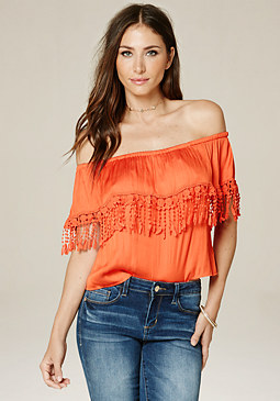 bebe Ruby Off Shoulder Top