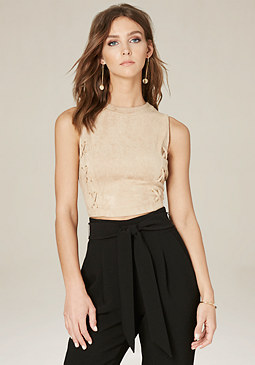 bebe Sabrina Faux Suede Crop Top