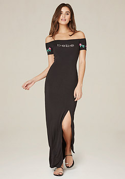 bebe Logo Embroidered Maxi Dress