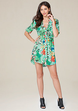 bebe Fran Print Shirtdress