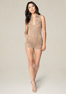 Stephanie Faux Suede Romper