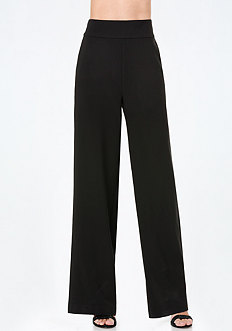 Banded Waist Wide Leg Pants
