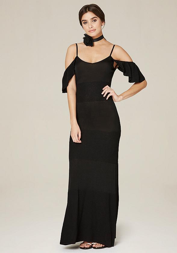 Pointelle Panel Maxi Dress