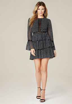 bebe Polka Dot Tiered Dress