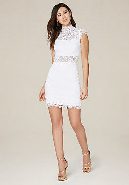 bebe Jessie Lace Mock Neck Dress