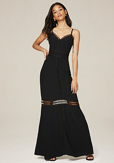 Crepe Lace Trim Maxi Dress