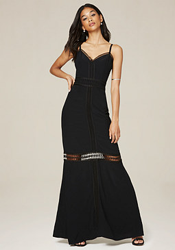 bebe Crepe Lace Trim Maxi Dress