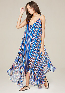 bebe Handkerchief Hem Maxi Dress