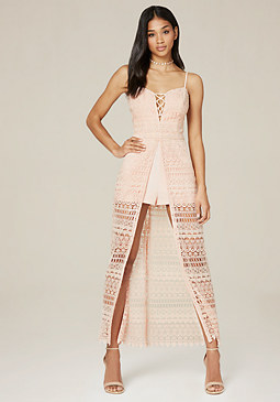 bebe Macrame Shorts Maxi Dress