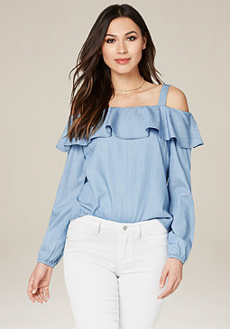 bebe Lizzay Chambray Top