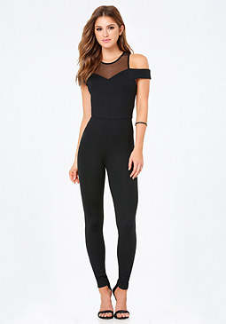 bebe Off Shoulder Catsuit