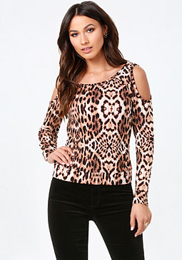 bebe Print Cold Shoulder Top