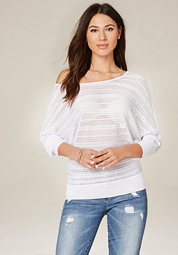 bebe Elle Sheer Dolman Sweater