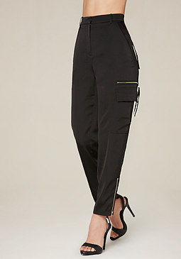 bebe Satin High Waist Trousers