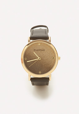 bebe Gold Glitter Face Watch