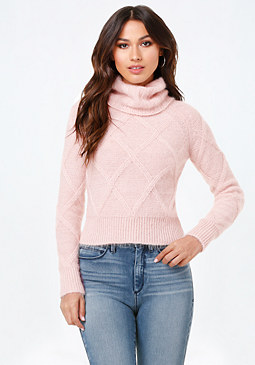 bebe Turtleneck Cable Sweater