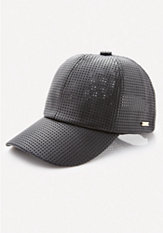 bebe Perforated Faux Leather Cap