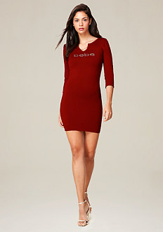 Chain Trim Sweater Dress