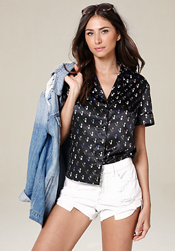 bebe Print Button Front Shirt