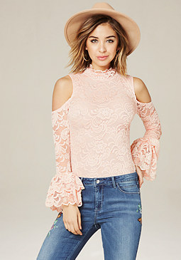 bebe Lace Cold Shoulder Top