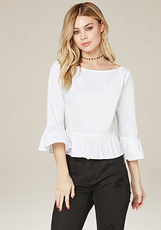 Ruffle Sleeve Button Top