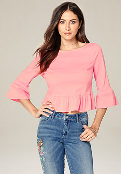 bebe Ruffle Sleeve Button Top