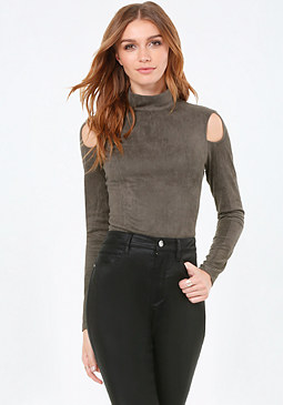 bebe Faux Suede Shoulder Top