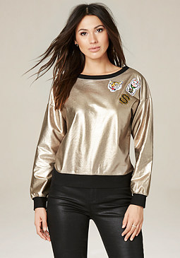 bebe Patch Foiled Sweatshirt