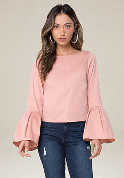 bebe Piper Ruffle Sleeve Top