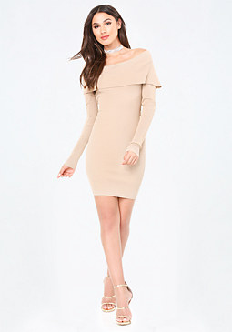 bebe Ribbed Sweater Dress