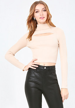 bebe Keyhole Turtleneck Sweater