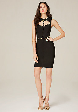 bebe Lace Up Bandage Dress