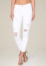 bebe Raw Hem Crop Skinny Jeans