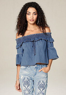 bebe Ruffled Denim Top