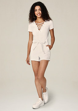 bebe White Denim Belted Romper