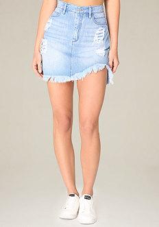 Denim Step Hem Miniskirt