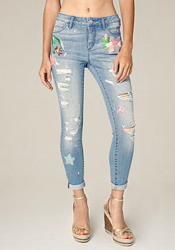 bebe Tropical Heartbreaker Jeans