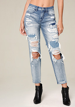 bebe Destroyed Girlfriend Jeans