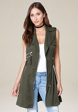 bebe Multi-Zip Trench Coat