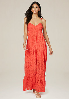 bebe Lace Tiered Maxi Dress