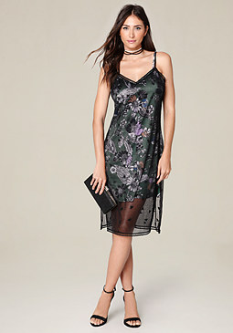 bebe Embroidered Slip Dress